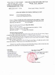 Công bố thông tin trong thời hạn 24 giờ ( Miễn nhiệm và bổ nhiệm Kế toán trưởng )