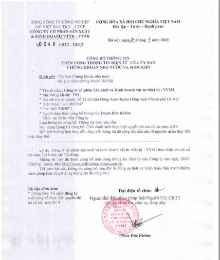 Công bố thông tin ( Chốt danh sách thực hiện quyền chi trả cổ tức năm 2019) )