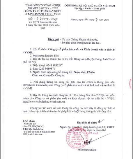 Công Bố thông tin ( Báo cáo tài chính 6 tháng đầu năm 2020 trước kiểm toán )