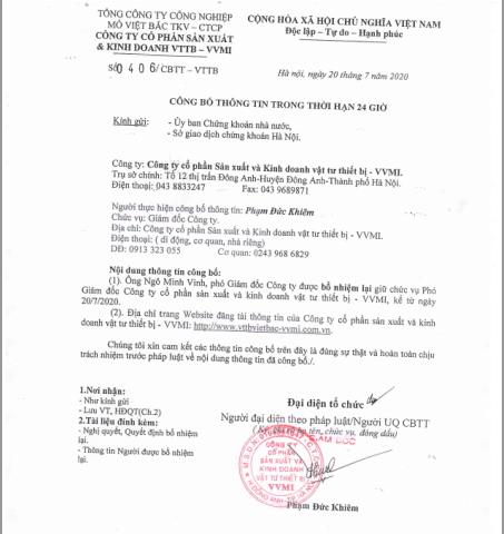 Công bố thông tin Trong thời hạn 24 giờ ( Bổ nhiệm lại chức vụ Phó Giám Đốc Công Ty  Ông Ngô Minh Vinh )